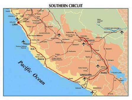 Mapa turístico con el circuito sur de Perú