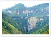 The 2,529 foot high Gocta Falls as seen from across the valley