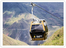 One of the aerial cable car gondolas ascends high over the valle from Nuevo Tingo to the Chachapoya Temple Fortress of Kuelap.