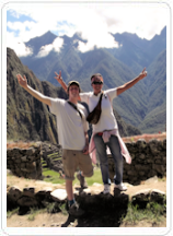 Two tourists in the Sacred Valley of the Incas.