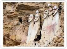 Five Sarcophagi of Karajia, ancient Chachapoya tombs, tucked into the walls of the cliff-side