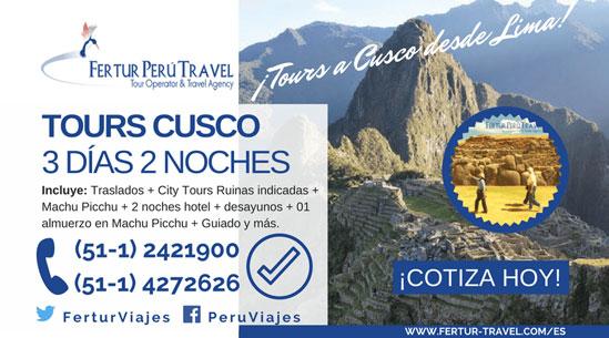 Tours Cusco: Paquete de vacaciones desde Lima 3 días 2 noches