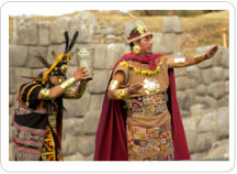 The Sapa Inca and his high priest make an offering to the sun during the Inti Raymi Solstice Festival in Cusco Peru