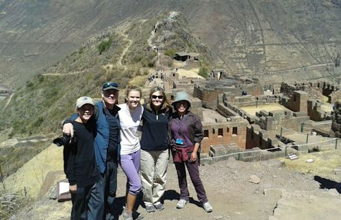 Magas family  with Maria Isabel touring the Inca ruins of Pisaq