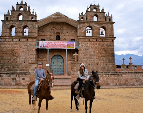 Juliana and Dan went on horseback through Cusco's back country to the Inca ruins of Maras y Moray during their honeymoon in Peru