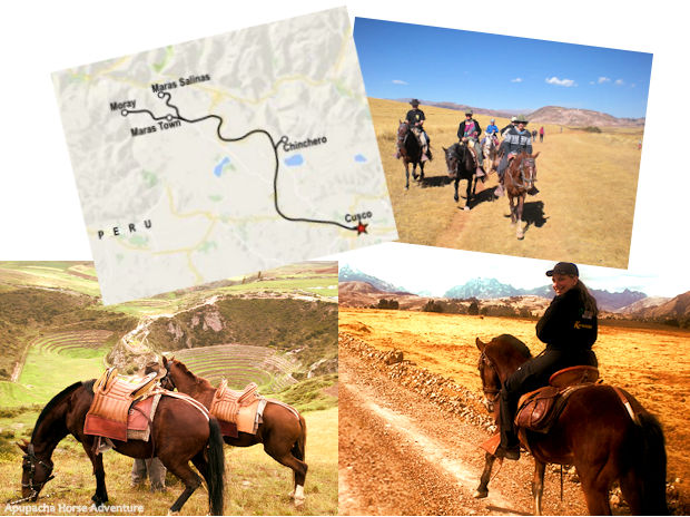 Horseback riding in Cusco : Photo montage and route map of Fertur Peru Travel's Horseback tour of the Sacred Valley in Cusco, Peru