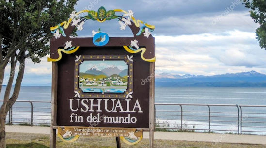 Sign for Ushuaia on Beagle Bay in the southern-most city of the world