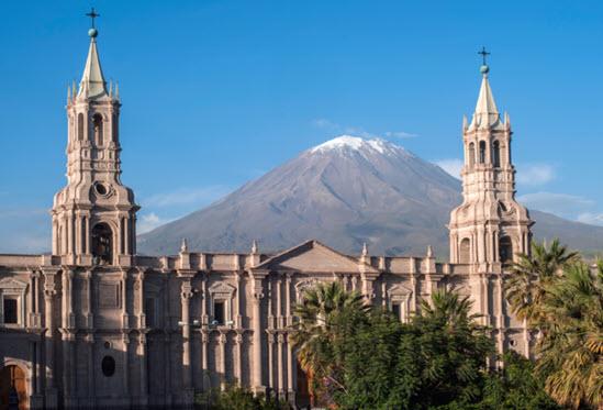 El Misti volcano from Arequipa Main Plaza